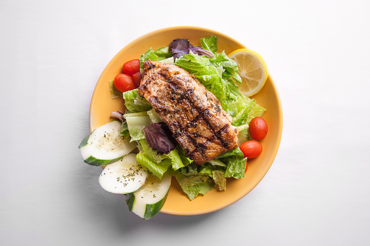 Jerk Salmon Mixed Green Salad